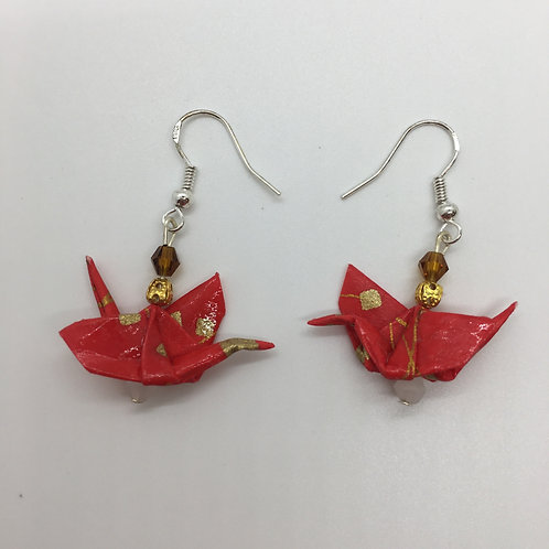 Earrings - Origami Cranes, Red with Gold Specks