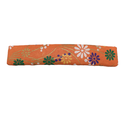 Origami Large Rectangular Barrette - Orange & Floral