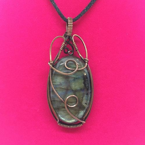Wire Wrapped Gemstone - Double Hoop Labradorite