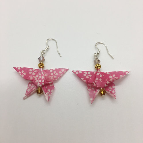 Earrings - Origami Butterflies, Pink with White Flowers