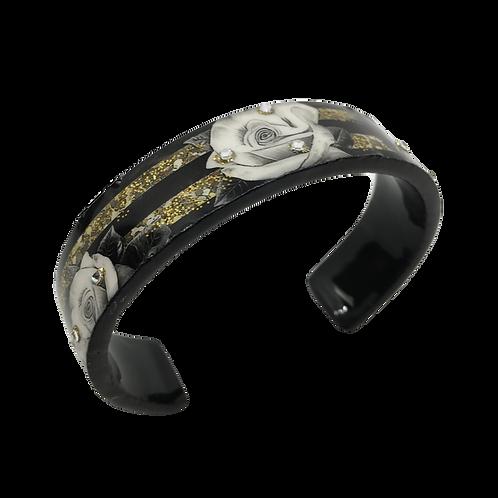 Nano Cuff Bracelet - Rose Stripe Black Gold