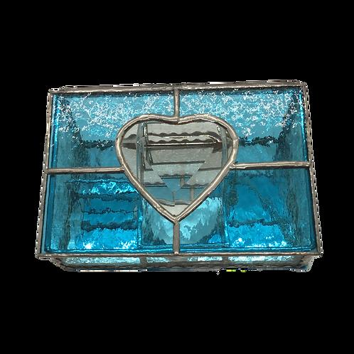 Stained Glass - Jewelry Box - Heart Aqua
