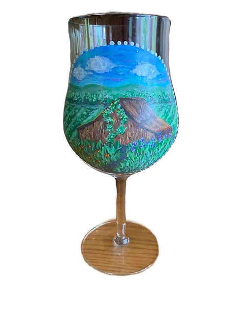 Hand Painted Hudson Valley Scene Wine Glass