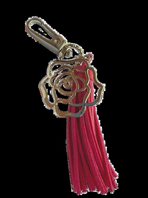 Pink Tassel & Silver Rose Key Chain