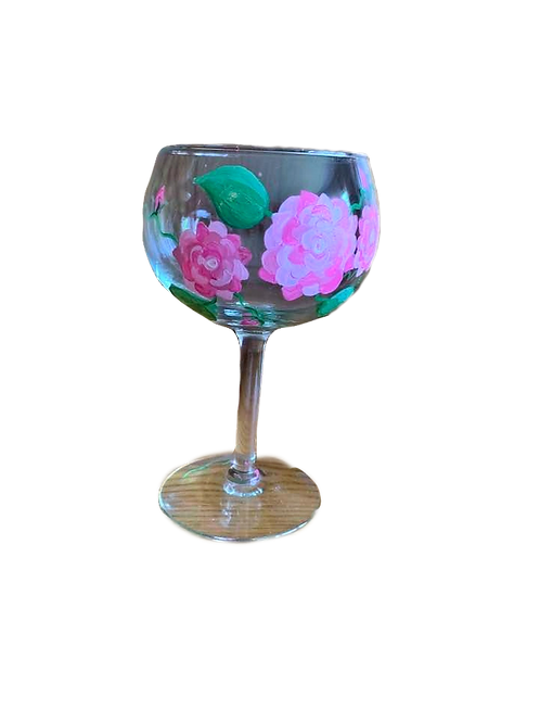 Hand Painted Wine Glass with Pink Flowers