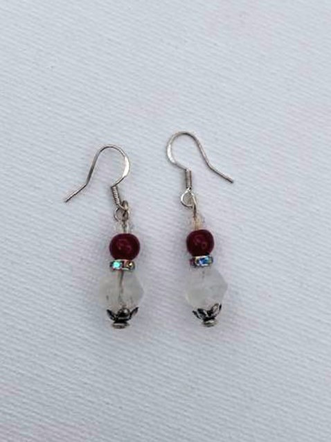 Red & White Glass Beads Sterling Silver Earrings