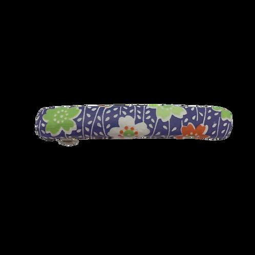 Origami Small Rectangular Barrette - Purple & Green Flowers