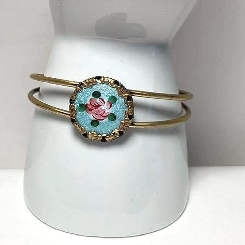 Antique Blue Flower Porcelain Button Cuff Bracelet