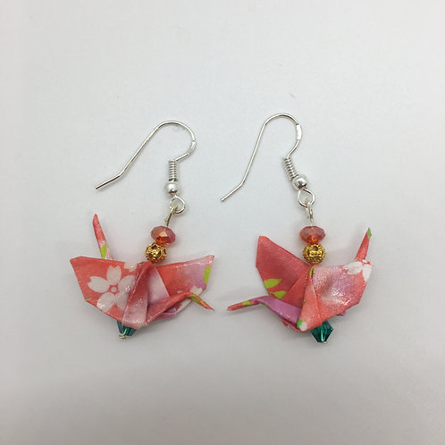 Earrings - Origami Cranes, Peachy Pink & White Flowers