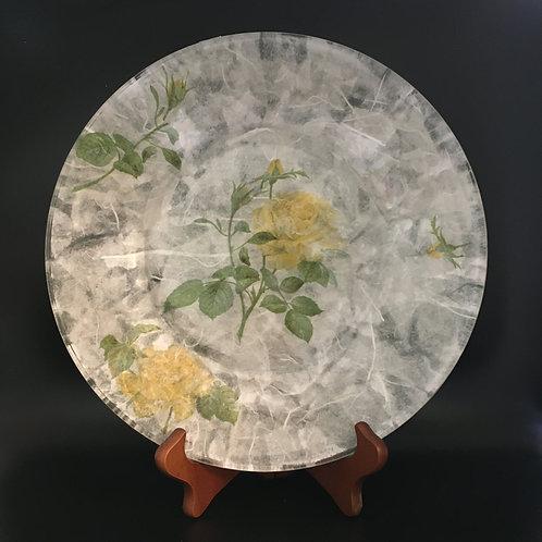 Decoupage Plate - Yellow Flowers