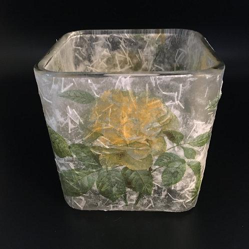 Decoupage Votive Candle Glass Vase - Yellow Flowers