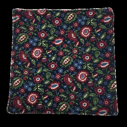 Gripper - Burgundy/Blue Flowers