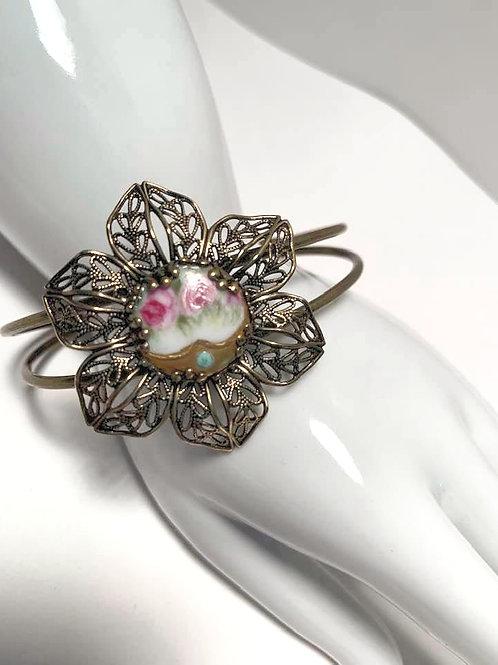 Antique Porcelain Pink Flower Button Cuff Bracelet