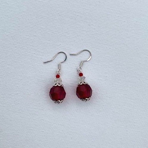 Red Glass Beads Sterling Silver Earrings