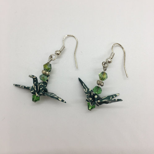 Earrings - Origami Cranes, Shades of Green with White Stripes & Specks