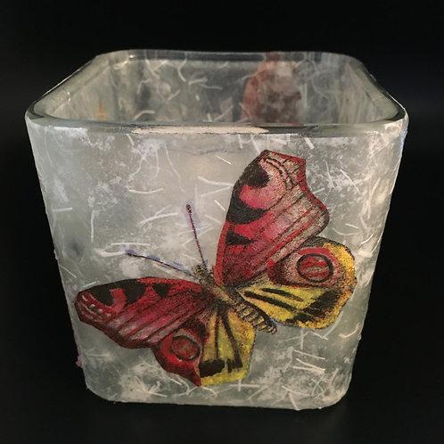 Decoupage Votive Candle Glass Vase - Butterflies