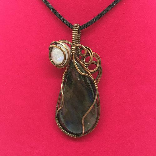 Wire Wrapped Gemstone - Rainbow Moonstone & Labradorite