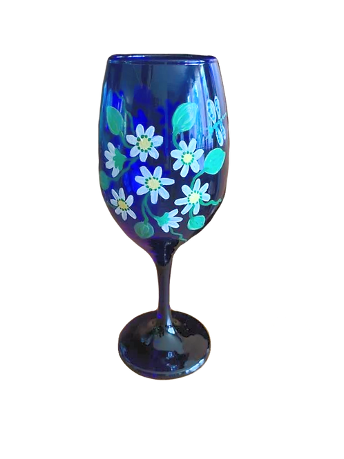 Hand Painted Blue Wine Glass with Dragonfly