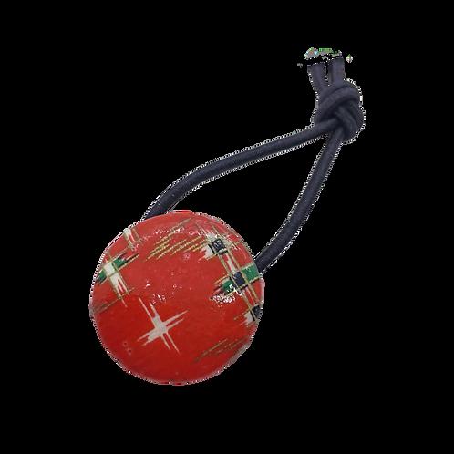 Origami Hair Tie Button - Red & Tri-Flowers (Medium)