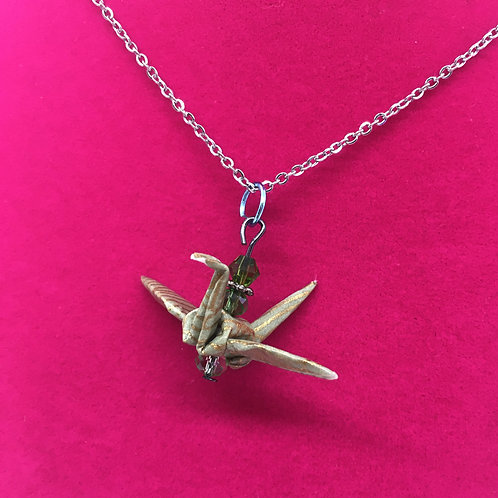 Necklace - Origami Crane Pendant, Green with Gold Lines