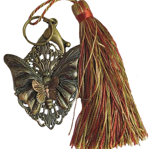 Gold and Copper Colored Butterfly Key Chain