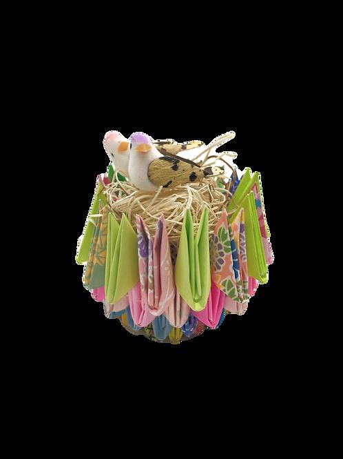 Origami Love Birds in Nest - Multi-Colored/Green