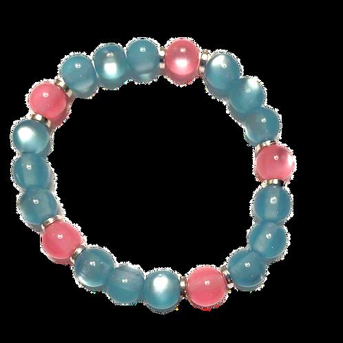 "Baby Pink & Blue Glass Beads Stretch Bracelet 7"""