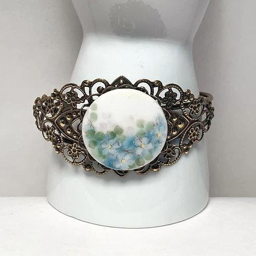 Antique Porcelain Blue & White Flower Button Cuff Bracelet