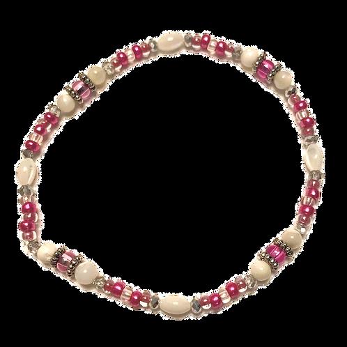 "Bright Pink & White Glass Beads Stretch Bracelet 7 3/4"""