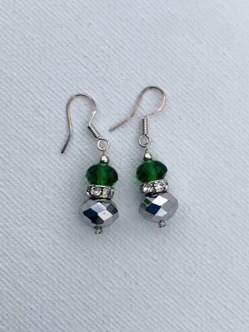 Green Glass & Iridescent Beads Sterling Silver Earrings