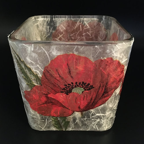 Decoupage Votive Candle Glass Vase - Red Flowers