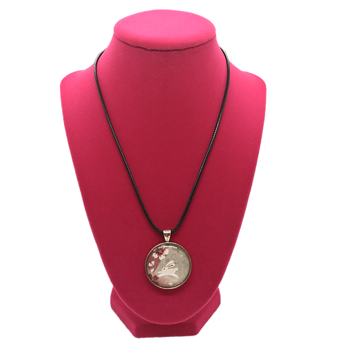 Necklace - White Rabbit & Flowers in Pendant