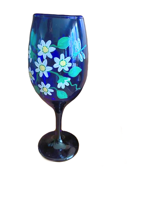 Hand Painted Blue Wine Glass