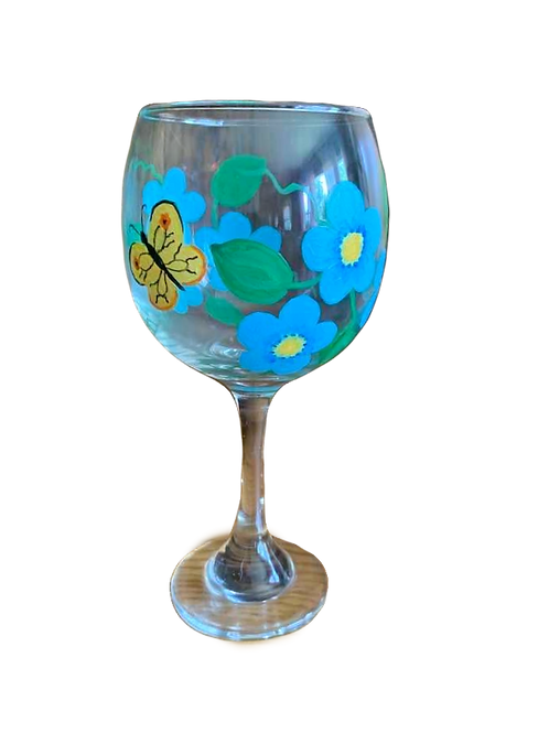 Hand Painted Wine Glass with Butterfly
