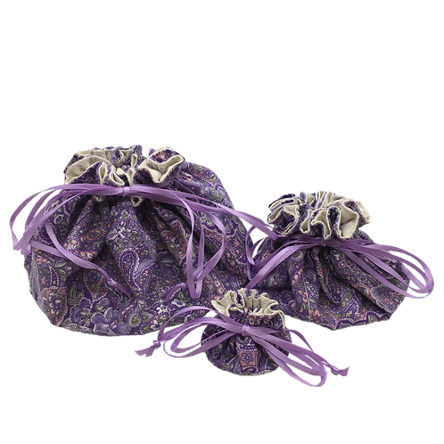 Drawstring Pouches (Set of Three) - Lavender Delight