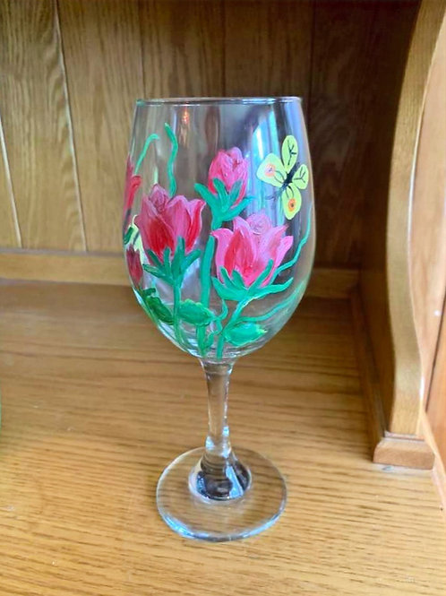 Hand Painted Wine Glass with a Butterfly