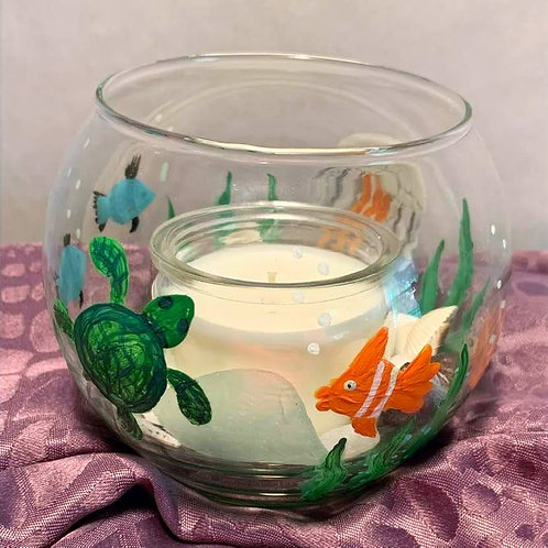 Hand Painted Ocean scene glass candle holder