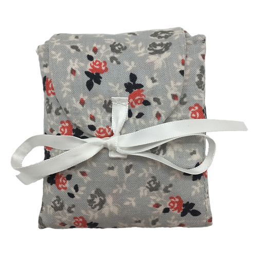 Tea Caddy - Meduim Red & Gray Flowers