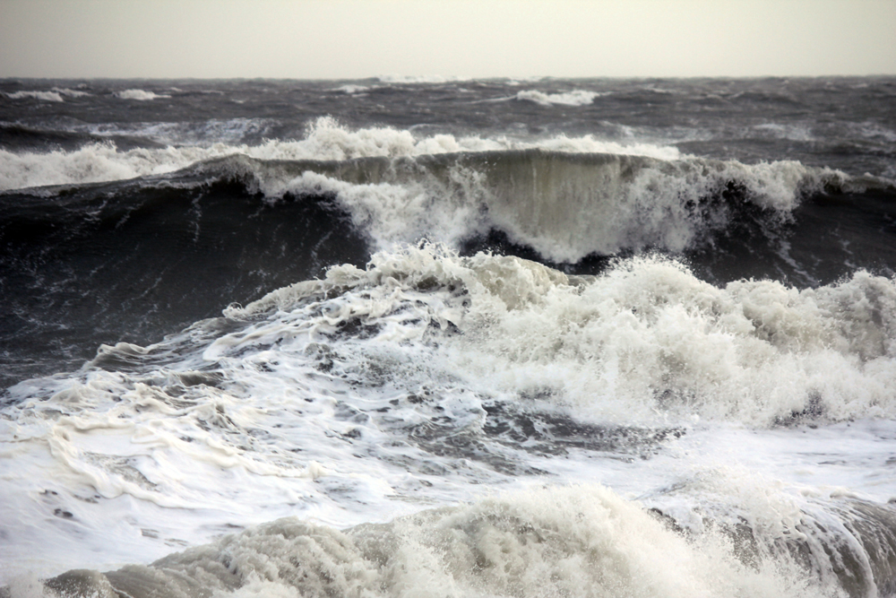 Rough sea storm