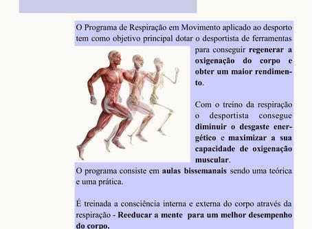 Horário das aulas de Respiração em Movimento - Desporto