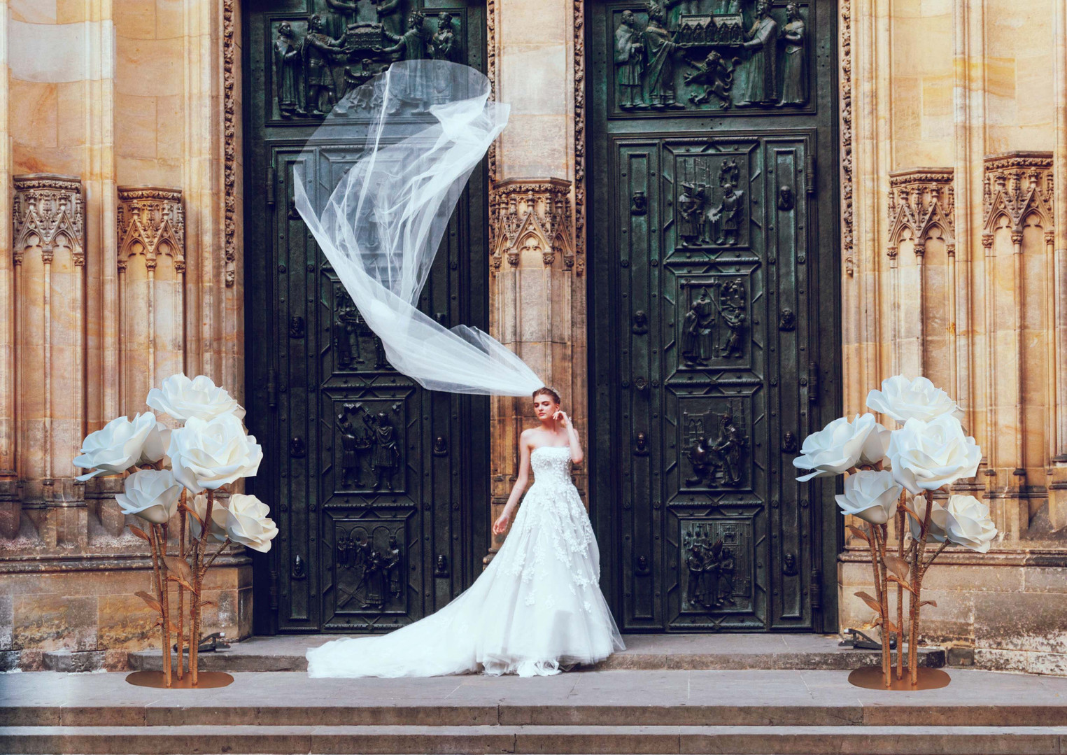 Bridal Shoot with Giant Rose Flowers