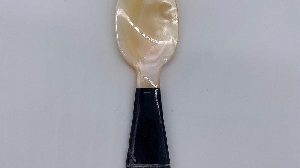 Mother of Pearl Spoon 4 inches (black burlwood handle)