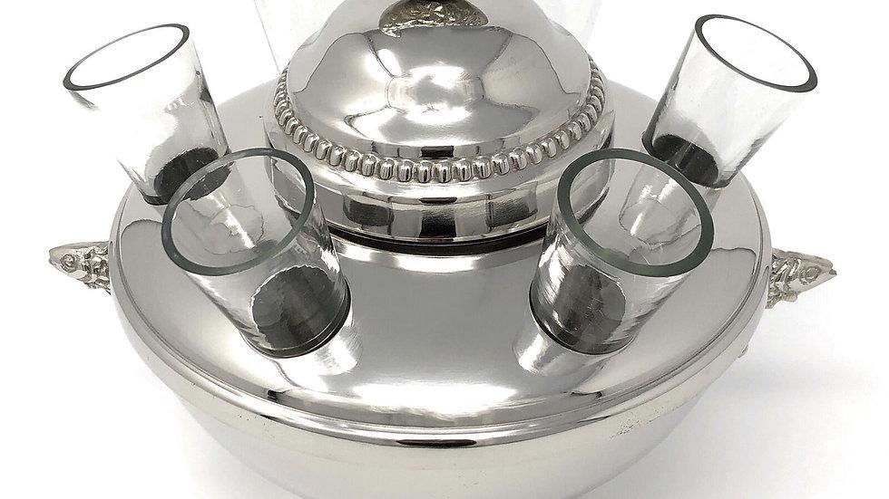 Silver Plated Caviar and Vodka Server + 6 glasses