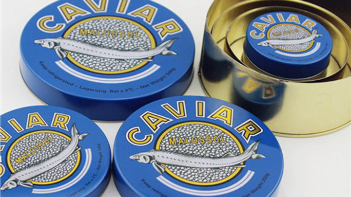 50 gram Empty Caviar Tin with Red Rubber Band