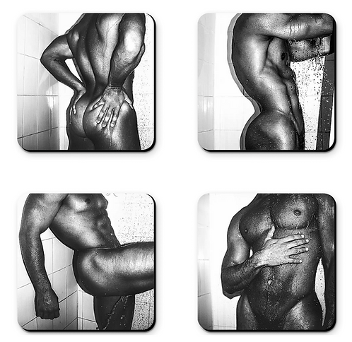 """Set of 4  """"In the Shower"""" Coasters"""