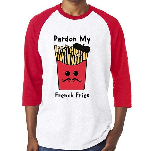 Pardon My French Fries Adult Baseball Raglan
