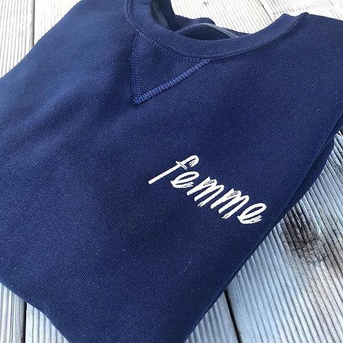 Femme Navy Fleece Pullover