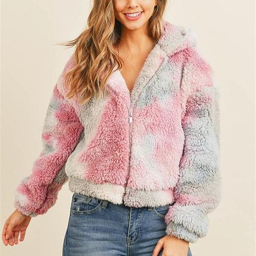 Tie Dye Sherpa Jacket