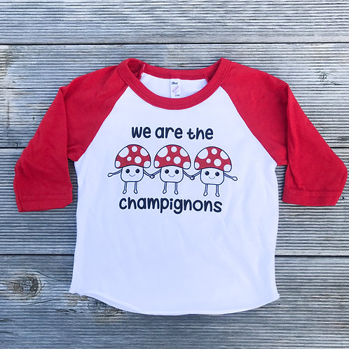 We Are The Champignons Baseball Raglan