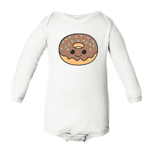 Chocolate Donut Long Sleeve Bodysuit
